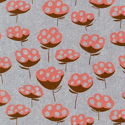 AFH-19016-185 STEEL Driftless Flower in Steel by Anna Graham for Robert Kaufman Fabrics at Pink Castle Fabrics