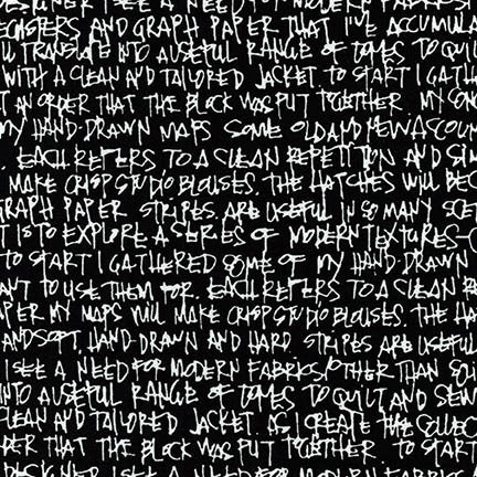 "Architextures Scribble Notes 108"" Wideback in Black"