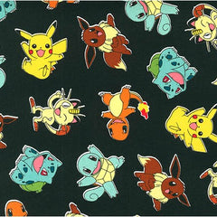 Pokemon Toss in Black from Pokemon by Robert Kaufman House Designers  for Robert Kaufman
