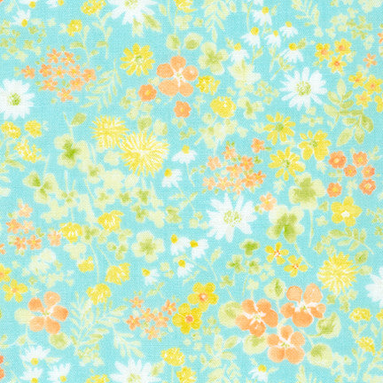 Comfy Flowers Double Gauze in Aqua