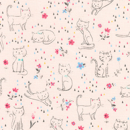 Whiskers & Tails Cats & Flowers in Pink
