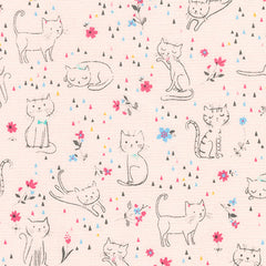 Whiskers & Tails Cats & Flowers in Pink from Whiskers & Tails by Sea Urchin Studio for Robert Kaufman