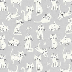 Whiskers & Tails Cats & Birds in Grey from Whiskers & Tails by Sea Urchin Studio for Robert Kaufman