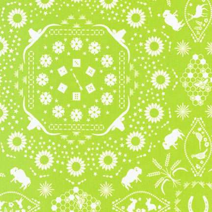 AVL-19248-50 LIME Buffalo Flats Bandana in Lime by Violet Craft for Robert Kaufman Fabrics at Pink Castle Fabrics