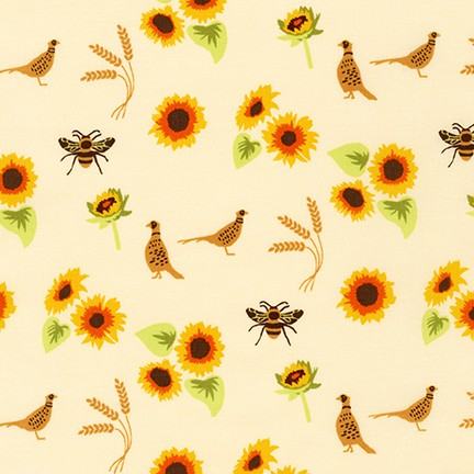 AVL-19250-125 SUNFLOWER Buffalo Flats Birds & the Bees in Sunflower by Violet Craft for Robert Kaufman Fabrics at Pink Castle Fabrics