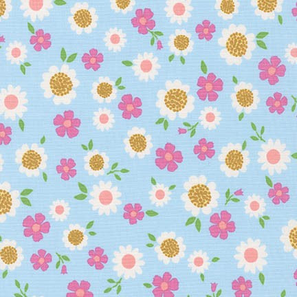 Whimsical Storybook Flowers in Spring Fabric