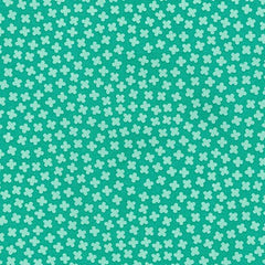 Rhoda Ruth Four Leaf Clovers in Aloe from Rhoda Ruth by Elizabeth Hartman for Robert Kaufman
