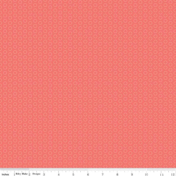 C445-CORAL Circle Dot in Coral by The RBD Designers for Riley Blake Designs at Pink Castle Fabrics