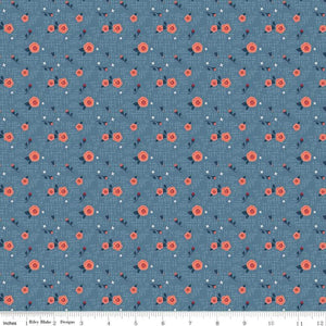 C7902-BLUE Hedge Rose Hashtag in Blue by Kelly Panacci for Riley Blake Designs at Pink Castle Fabrics