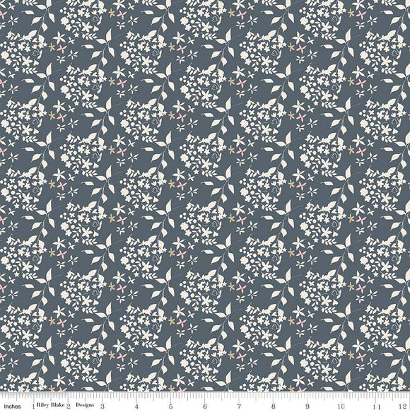 C7914-NAVY Someday Flowers in Navy by Minki Kim for Riley Blake Designs at Pink Castle Fabrics