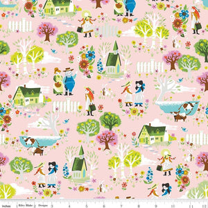 C8531-PINK Kindred Spirits Town in Pink by Jill Howarth for Riley Blake Designs at Pink Castle Fabrics