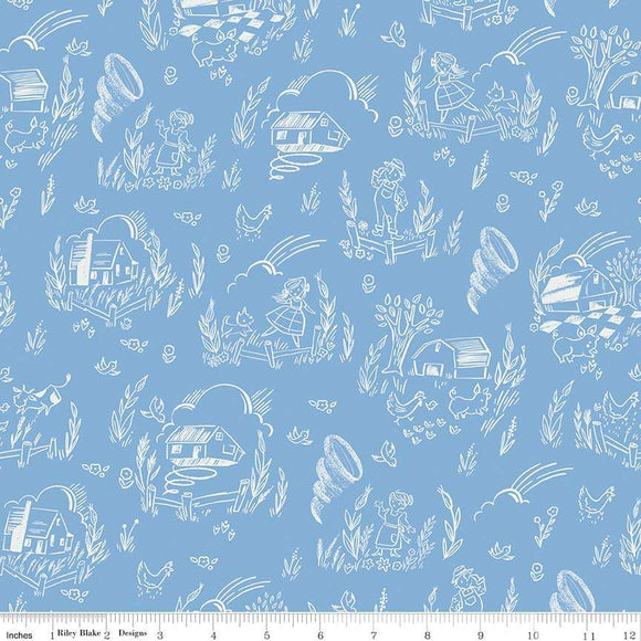 C8682-BLUE Dorothy's Journey Kansas in Blue by Jill Howarth for Riley Blake Designs from Pink Castle Fabrics
