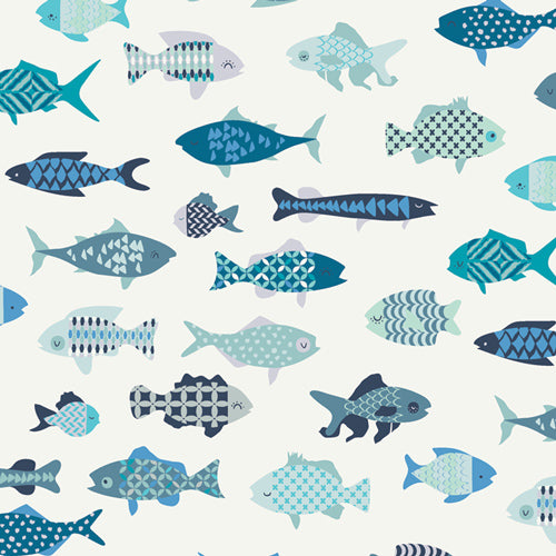 CTR-24900 Catch & Release School of Fish by Mathew Boudreaux for Art Gallery Fabrics from Pink Castle Fabrics