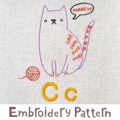 Cat Embroidery - PDF Accessory Pattern by Penguin and Fish