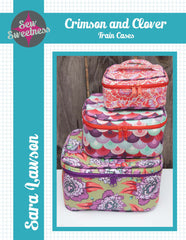 Crimson and Clover Train Cases - PDF Accessory Pattern from Straight Stitch Society by Sew Sweetness for World Book Media
