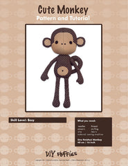 Cute Monkey - PDF Accessory Pattern by DIY Fluffies