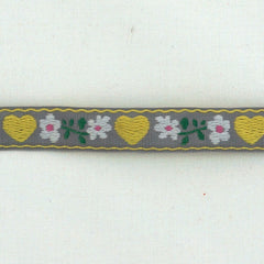 La Stéphanoise Jacquard Ribbon Yellow Hearts on Grey from La Stephanoise Tape by La Stéphanoise House Designers  for La Stephanoise