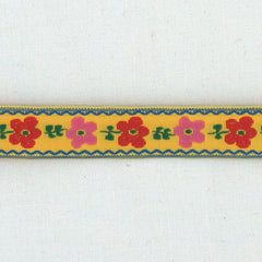 La Stéphanoise Jacquard Ribbon Pink Flowers on Yellow from La Stephanoise Tape by La Stéphanoise House Designers  for La Stephanoise