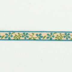 La Stéphanoise Blue Flowers Twill Tape from La Stephanoise Tape by La Stéphanoise House Designers  for La Stephanoise