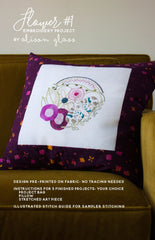 Flower 1 Embroidery Project - Printed Embroidery Pattern from Collection by Alison Glass Design for Alison Glass Design
