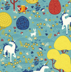 Magical Unicorns in Teal from Timeless Treasures Basics by Timeless Treasures House Designers  for Timeless Treasures