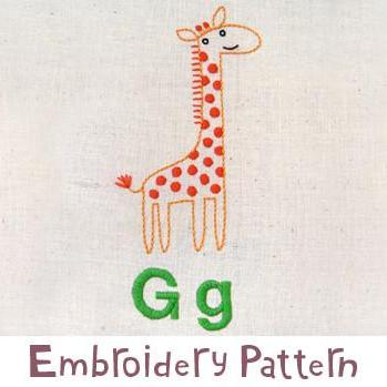 Giraffe Embroidery - PDF Accessory Pattern