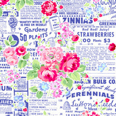 Pam Kitty Garden Focal in Navy from Pam Kitty Garden by Pam Vieira-McGinnis for Lakehouse Dry Goods
