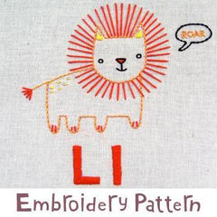 Lion Embroidery - PDF Accessory Pattern by Penguin and Fish