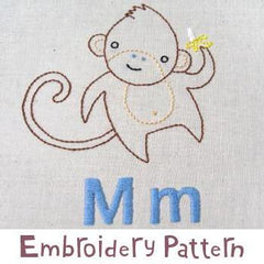 Monkey Embroidery - PDF Accessory Pattern by Penguin and Fish