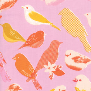 RS0002-13 Social Chirp in Peony by Melody Miller for Ruby Star Society from Pink Castle Fabrics