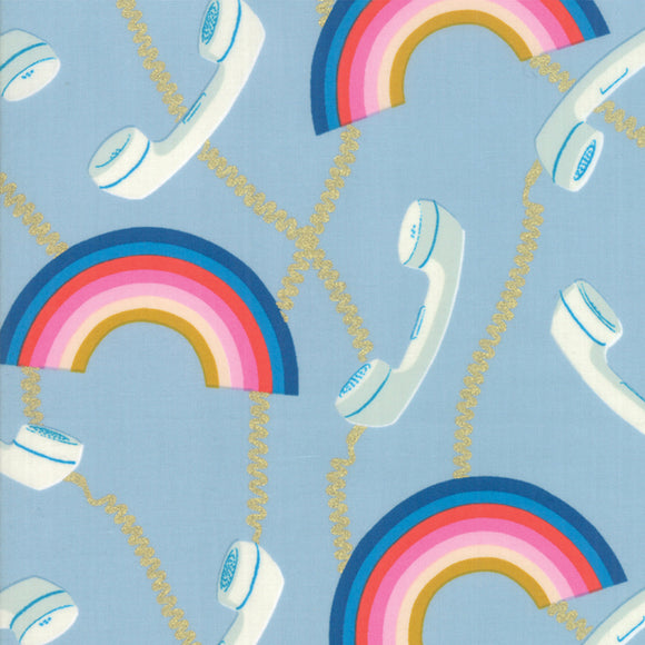 RS0004-13M Social Hello Metallic in Soft Blue by Melody Miller for Ruby Star Society from Pink Castle Fabrics