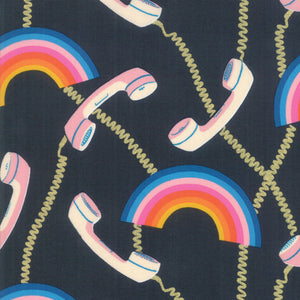 RS0004-19M Social Hello Metallic in Navy by Melody Miller for Ruby Star Society from Pink Castle Fabrics