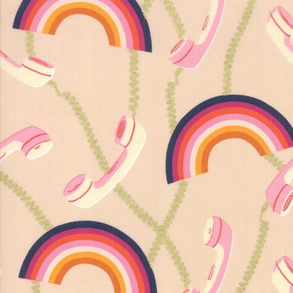 RS0004-23M Social Hello Metallic in Pale Pink by Melody Miller for Ruby Star Society from Pink Castle Fabrics