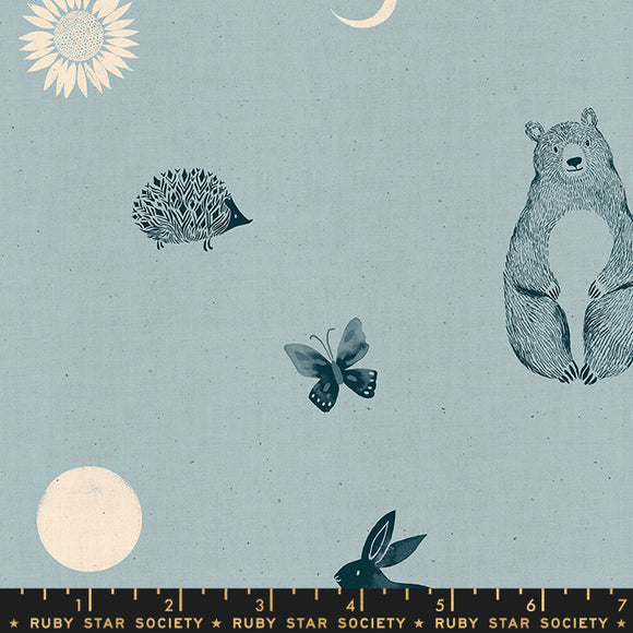 RS2002 14 Crescent Forest Dot in Soft Blue by Sarah Watts for Ruby Star Society from Pink Castle Fabrics