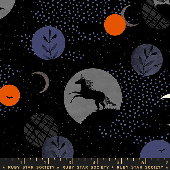 RS2003 11 Crescent Unicorn Moon in Black by Sarah Watts for Ruby Star Society from Pink Castle Fabrics