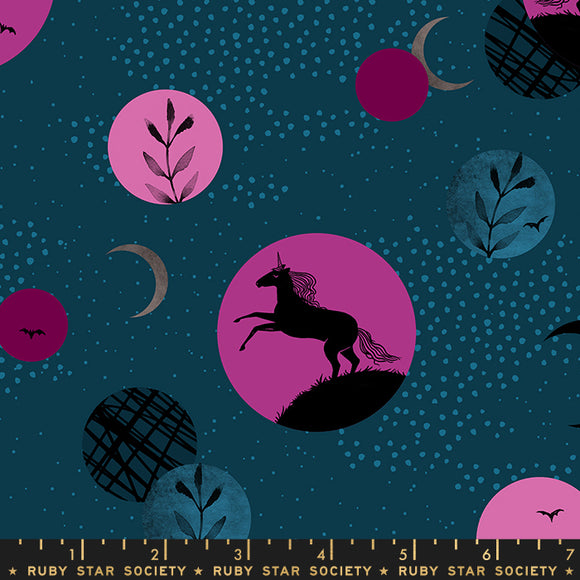 RS2003 12 Crescent Unicorn Moon in Dark Teal by Sarah Watts for Ruby Star Society from Pink Castle Fabrics