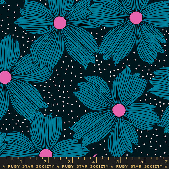 RS2004 12 Crescent Night Bloom in Teal by Sarah Watts for Ruby Star Society from Pink Castle Fabrics