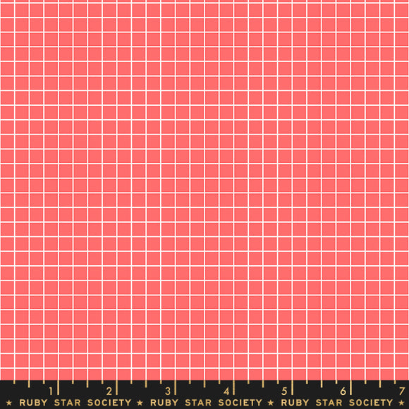 RS3005 14 Ruby Star Society Grid in Strawberry by Kimberly Kight for Ruby Star Society from Pink Castle Fabrics