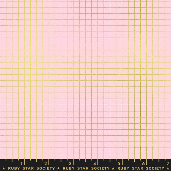 RS3005 18M Ruby Star Society Grid Metallic in Pink Gold by Kimberly Kight for Ruby Star Society from Pink Castle Fabrics