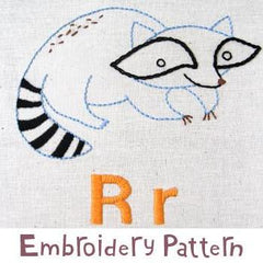 Raccoon Embroidery - PDF Accessory Pattern by Penguin and Fish