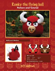 Ronky the Flying Bull - PDF Accessory Pattern by DIY Fluffies