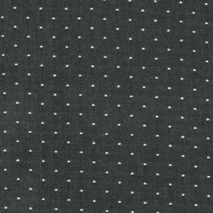 Cotton Chambray with Dots in Black