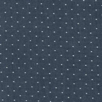 Cotton Chambray with Dots in Indigo