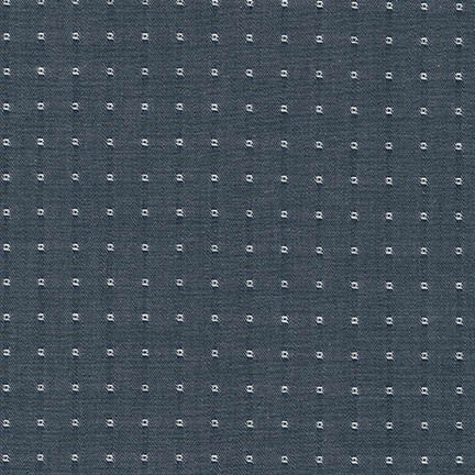 Cotton Chambray Dobbies Squares in Denim