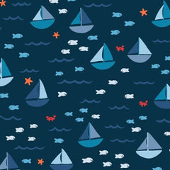 Seas The Day Sailboats in Navy from Seas The Day by Paula & Waffle for Dear Stella