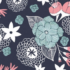 Moon Garden Night Garden Floral in Navy from Moon Garden by Rae Ritchie for Dear Stella