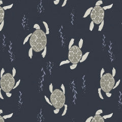 Into The Reef Swimming Turtles in Navy from Into The Reef by Rae Ritchie for Dear Stella