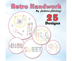 Retro Handwork 25 Embroidery Patterns CD for Janome