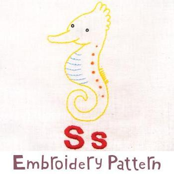 Seahorse Embroidery - PDF Accessory Pattern