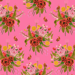 Sleeping Porch Flower Bouquet  in Pink from Sleeping Porch by Heather Ross for Windham
